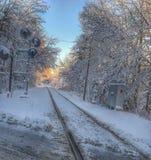 Zimy linia kolejowa Zdjęcia Stock