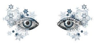 Zimy maskaradowy makeup dla bożych narodzeń i nowego roku ilustracji