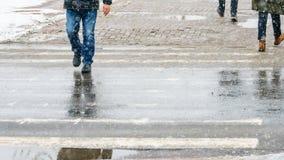 Zimy miasta Śliski chodniczek obraz royalty free