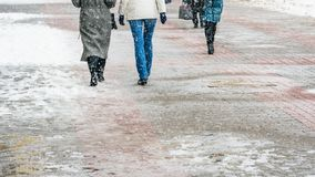 Zimy miasta Śliski chodniczek fotografia stock