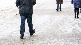 Zimy miasta Śliski chodniczek obrazy royalty free