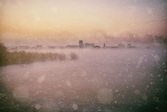 Zimy miasta krajobraz Fotografia Royalty Free