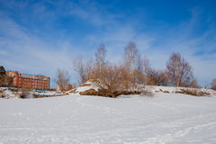 Zimy miasta krajobraz z nowymi duża wysokość domami Zdjęcie Stock