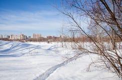 Zimy miasta krajobraz z nowymi duża wysokość domami Fotografia Stock