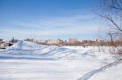 Zimy miasta krajobraz z nowymi duża wysokość domami Zdjęcia Royalty Free