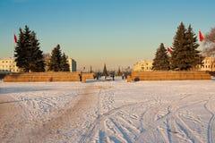 Zimy miasta krajobraz z widokiem na polu Mars Petersburg Rosja Fotografia Stock