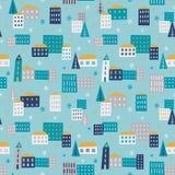 Zimy miasteczko - bezszwowy wzór Zdjęcia Royalty Free