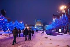 Zimy miastowa iluminacja Fotografia Stock