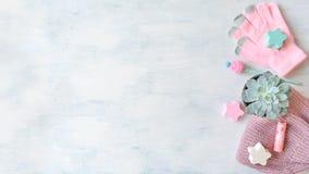 Zimy mockup z ciepłymi trykotowymi menchii ubraniami, koc, sukulentem w garnku, notatnikiem i piórem, fotografia stock