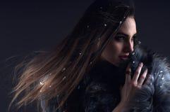 Zimy mody kobieta w futerkowym żakiecie Fotografia Royalty Free