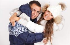 Zimy mody piękny mężczyzna i kobieta obrazy stock