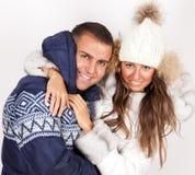 Zimy mody piękny mężczyzna i kobieta fotografia stock