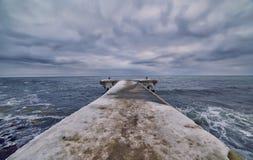 zimy molo na morzu Obrazy Royalty Free