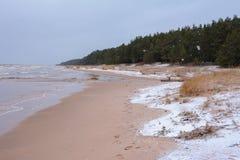 Zimy morze bałtyckie w Latvia Zdjęcia Stock
