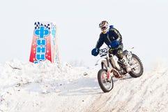 Zimy motocross rywalizacja Zdjęcia Royalty Free
