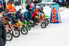 Zimy Motocross rywalizacje wśród dzieci Obraz Royalty Free