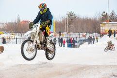 Zimy Motocross rywalizacje wśród juniorów Obrazy Stock