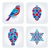 Zimy mozaiki ikony Obrazy Stock