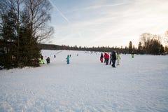 Zimy narty krajobrazu przyjęcie Obrazy Royalty Free
