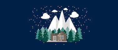 Zimy natury krajobraz z Ślicznym małym domem, jedlinowi drzewa Fotografia Stock