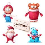 Zimy niedźwiadkowa ilustracja charaktery śliczni royalty ilustracja