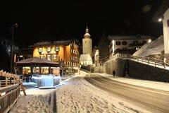 Zimy noc w centrum Lech zdjęcia royalty free