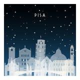 Zimy noc w Pisa ilustracji