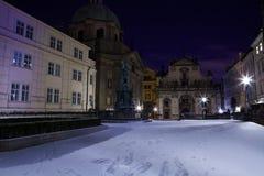 Zimy noc w Praga Zdjęcie Royalty Free