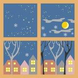 Zimy nocy domy Zdjęcie Royalty Free