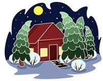 Zimy nocy krajobraz: dom, drzewa księżyc royalty ilustracja