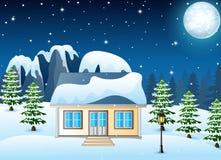 Zimy nocy krajobraz z śniegiem zakrywał dom i śnieżne skały ilustracji