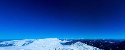 Zimy nocy panorama Zdjęcia Stock