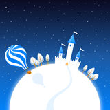 Zimy nocy sceneria z lotniczym balonem i kasztelem Obraz Stock