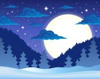 Zimy nocy tematu tło 1 ilustracji