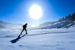 Zimy odprowadzenie na śniegu obrazy stock