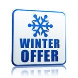 Zimy oferty biały sztandar z płatka śniegu symbolem Obrazy Stock
