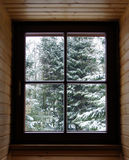 Zimy okno Zdjęcie Royalty Free