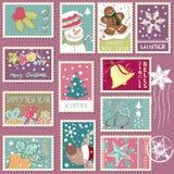 Zimy opłaty pocztowa set Zdjęcie Royalty Free