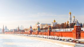 Zimy panorama Moskwa Kremlin, Rosja Obrazy Stock