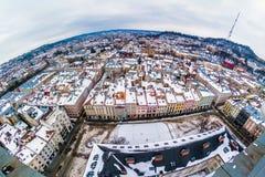 Zimy panoramy widok od urzędu miasta w Lviv, Ukraina Zdjęcia Royalty Free