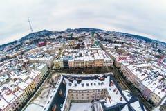 Zimy panoramy widok od urzędu miasta w Lviv, Ukraina Obrazy Royalty Free