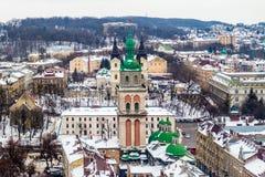 Zimy panoramy widok od urzędu miasta w Lviv, Ukraina Obraz Stock