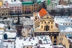 Zimy panoramy widok od urzędu miasta w Lviv, Ukraina Zdjęcie Stock
