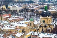 Zimy panoramy widok od urzędu miasta w Lviv, Ukraina Zdjęcia Stock