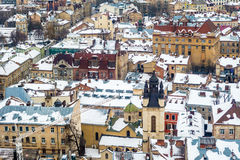 Zimy panoramy widok od urzędu miasta w Lviv, Ukraina Obraz Royalty Free