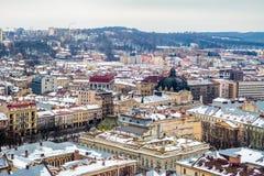Zimy panoramy widok od urzędu miasta w Lviv, Ukraina Fotografia Royalty Free