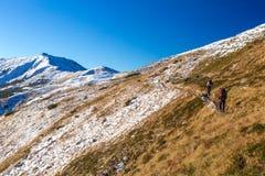 Zimy pasma górskiego widok i grupa Trekkers Chodzi Up na śladzie Obrazy Stock