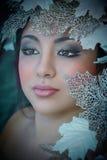 Zimy piękna dziewczyna z piękno liśćmi & makijażem Zdjęcie Stock