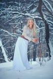 Zimy piękna kobieta Piękna moda modela dziewczyna z śnieżną fryzurą i makeup w zima lasowym Świątecznym manicurze i makeup zdjęcia royalty free