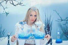 Zimy piękna kobieta Piękna moda modela dziewczyna z szklaną kolby fryzurą, makijażem w zimy laboratorium i Świąteczny makeup i fotografia stock